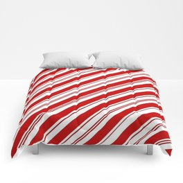 winter holiday xmas red white striped peppermint candy cane Comforters