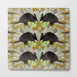 native armadillos gold Metal Print