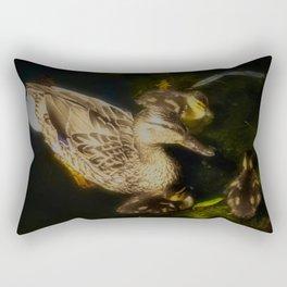 Mallard Duck Family, Mother With Ducklings Rectangular Pillow
