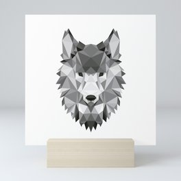 Low poly origami Wolf head Mini Art Print