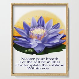 Yoga Meditation- Master your breath,let the self be in bliss, contemplate on the sublime within you Serving Tray