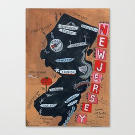 NEW JERSEY map Canvas Print