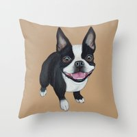 boston terrier Throw Pillows featuring Boston Terrier by PaperTigress