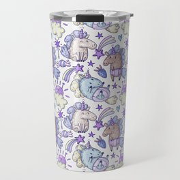 Modern hand painted purple violet magic unicorn illustration Travel Mug