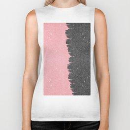 Pretty Girly Pink Black Faux Glitter Brushstroke Biker Tank