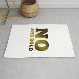 NO AND BOLD Typography Gold Rug