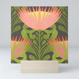 King Protea Flower Pattern - Gray Mini Art Print