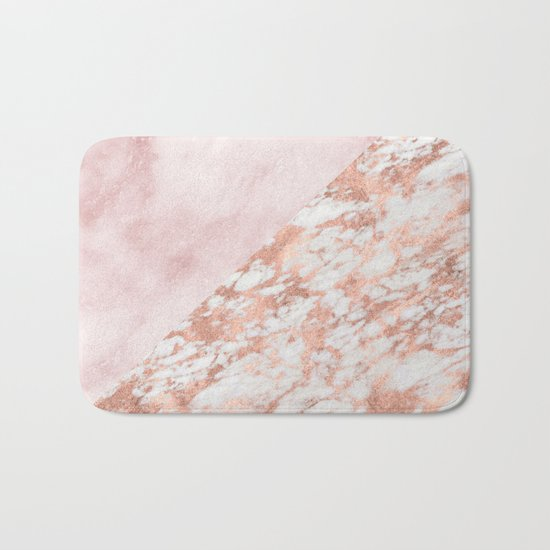 Rose gold & pinks marble Bath Mat