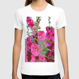 PINK- PURPLE COTTAGE  HOLLYHOCKS WHITE & GREY GARDEN T-shirt