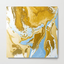 Brown and Blue abstract art Metal Print