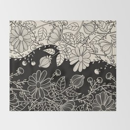 FLOWERS EBONY AND IVORY Throw Blanket