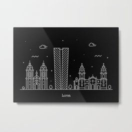 Lima Minimal Nightscape / Skyline Drawing Metal Print