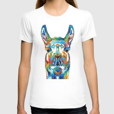 Colorful Llama Art - The Prince - By Sharon Cummings Womens Fitted Tee MEDIUM White