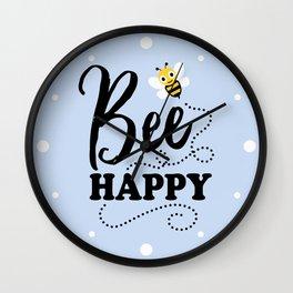 Bee Happy, Cute Fun Positive Quote Wall Clock
