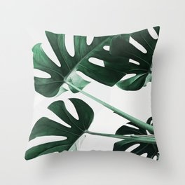 Monstera, Leaves, Plant, Green, Scandinavian, Minimal, Modern, Wall art Throw Pillow