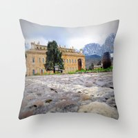 castle Throw Pillows featuring castle by  Agostino Lo Coco