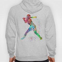 Baseball Softball Player Sports Art Print Watercolor Print Girl's softball Hoodie
