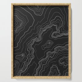 Black & White Topography map Serving Tray