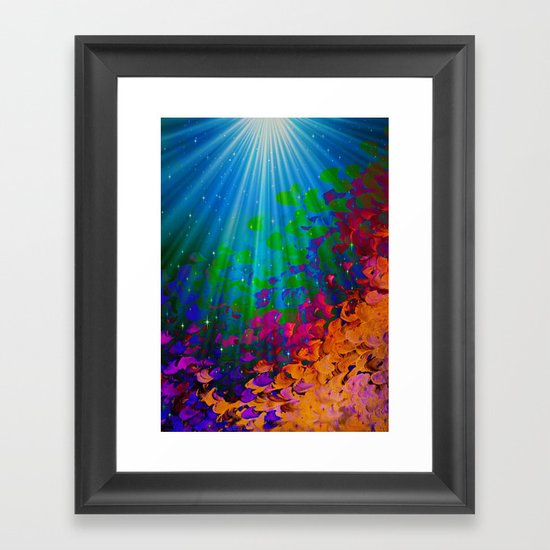 UNDER THE SEA Bold Colorful Abstract Acrylic Painting Mermaid Ocean Waves Splash Water Rainbow Ombre Framed Art Print