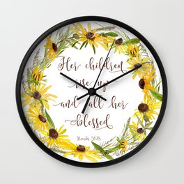 Wildflower Wreath - Mother Quote Wall Clock