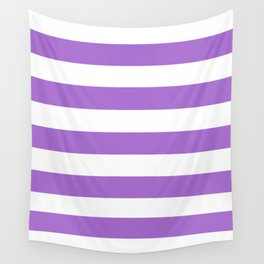 Rich lavender - solid color - white stripes pattern Wall Tapestry
