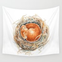mouse Wall Tapestries featuring Mouse in the nest by Patrizia Ambrosini