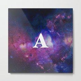 Monogrammed Logo Letter A Initial Space Blue Violet Nebulaes Metal Print