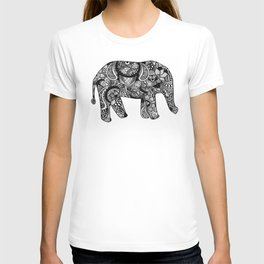 INTRICATE ELEPHANT BLACK AND WHITE T-shirt