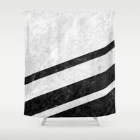 White Striped Marble Shower Curtain