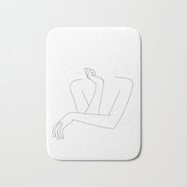 Minimal line drawing of woman's folded arms - Anna Bath Mat