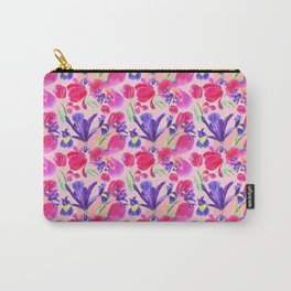 flowers irises and tulips pattern on a pink background Carry-All Pouch