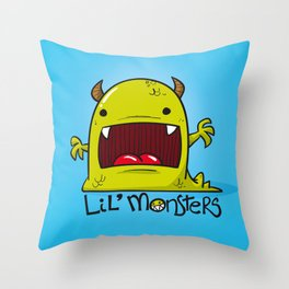 Lil' Monster Green Throw Pillow