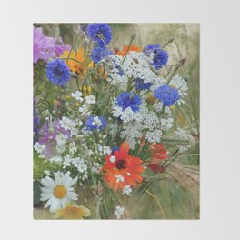 Wildflowers in a summer meadow Throw Blanket