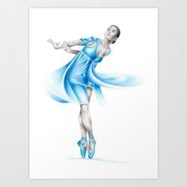 Dancer in blue Art Print