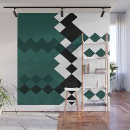 Emerald Green White Black Geometrical Pattern Wall Mural