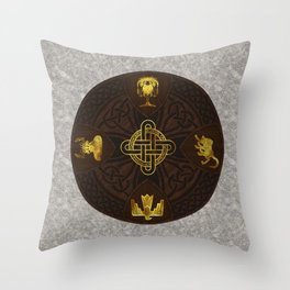Ilvermorny Knot with House Shields Throw Pillow