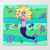 mermaid Canvas Prints featuring Mermaid by Linda Tomei