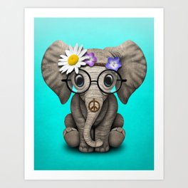 Cute Baby Elephant Hippie Art Print