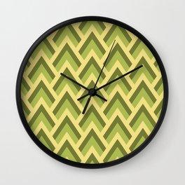 Mid Century Modern Triangles (Avocado Green) Wall Clock