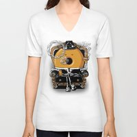gangster V-neck T-shirts featuring Gangster Donut by Javier Ramos