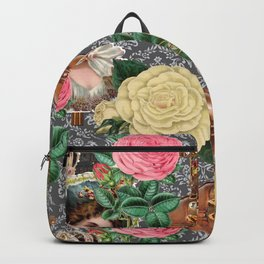 damask religious victorian grey Backpack