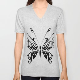 Butterfly Drawing Black and White Pattern Cutest Unisex V-Neck