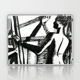 Easels. Silhouette of woman Laptop & iPad Skin