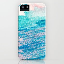 Abstract hand painted blue teal pink watercolor brushstrokes iPhone Case