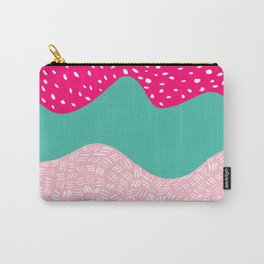 Modern neon pink turquoise blush ice cream color block geometric hand drawn pattern Carry-All Pouch