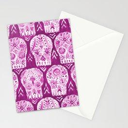 LOS MUERTOS FELIZ Purple Skulls Stationery Cards