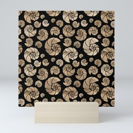 Sea shells pattern pastel gold on black Mini Art Print