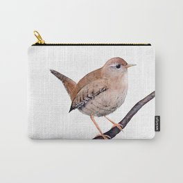 Wren, Bird, Brown Bird Watercolor Painting by Suisai Genki Carry-All Pouch