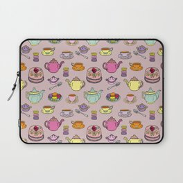 Time For Tea and Cake Illustrated Print Laptop Sleeve
