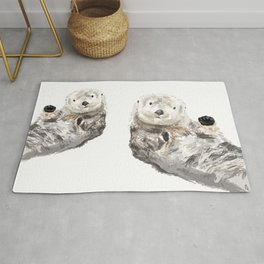 Sea Otters Watercolor Painting Rug